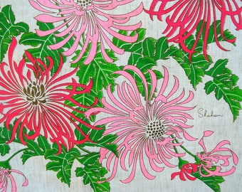 Alfred SHAHEEN CHRYSANTHEMUMS Double Panel Vintage Hawaiian FABRIC Hot Pink on Natural Linen-Colour Background Made in Hawaiid