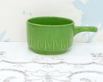 Soup Bowl with Handle, Green, Pipkin, Soup Mug, Cup, Houseware, 1960's, Retro, mid century, Made in England