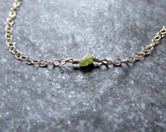 Yellow Raw Diamond Necklace with 14K Yellow Gold Filled Chain- April Birthstone Jewelry