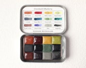 The Adventure Set, Earth / Mayan Colors Palette with Magnets, Handmade Watercolors in Half Pans, Greenleaf & Blueberry