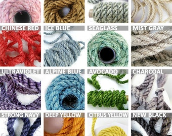 """Assorted Color Sisal Rope, Choose 5 Colors, 5' (1.5 m) Each, 25' (7.5 m) Total, 1/4"""" or 3/8"""" or 1/2"""" (6 mm, 10 mm or 12 mm)"""