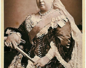 1887 postcard of Queen Victoria, Photo Reproduction, 1800's