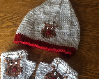 Hand-Knit Reindeer Christmas Hat and Fingerless Gloves  in Linen and Red