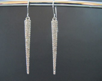 Clear Crystal Pave Long Spike Stainless Steel Earrings/Sale! All Sales Final