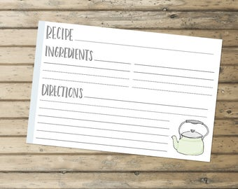 Recipe Card Instant Download
