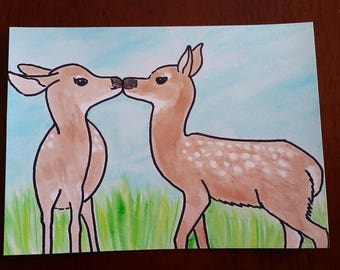 Fawns Kissing