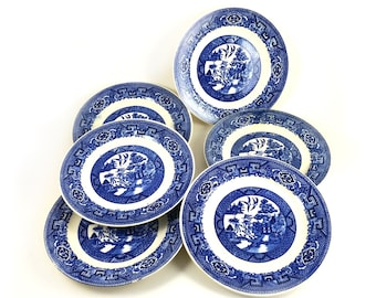 SALE! 6 Piece Vintage 1953 Oriental Chinese Homer Laughlin Blue Willow Plates