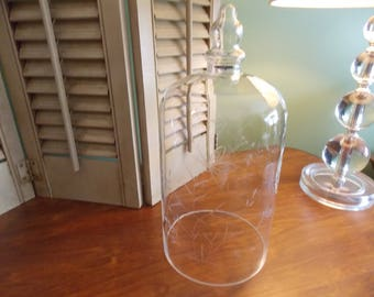 VINTAGE GLASS CLOCHE, Large Delicate Etched Glass Cloche