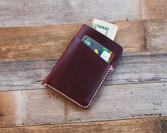Leather Card Holder, Minimalist Leather Wallet, Leather Card Wallet, Horween Wallet, Chromexcel Slim Leather Wallet, Burgundy Wallet, Bifold
