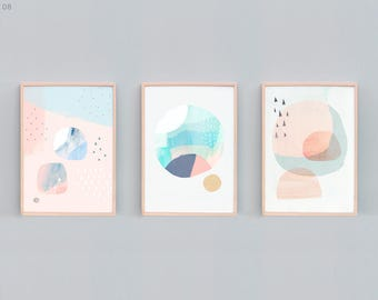 Set of 3, Abstract Painting, Abstract Set, Contemporary Prints, Minimalist, Beach House Art, Tranquil Art, Soft Color, Peach, Green, Blue