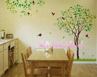 Tree wall decal with flying birds vinyl kids wall decal nursery tree decal branch decal nature wall decal-DK247