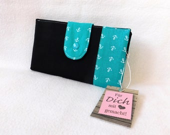 Purse black with anchor in turquoise