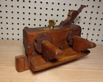 Antique W.Parkes Slide Wood Screw Arm Wood Brass Steel Fillister/plow Plane Tool