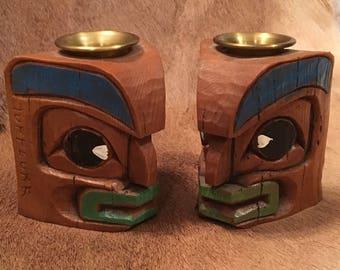 Alaskan Totem Candlesticks by Tufflukk
