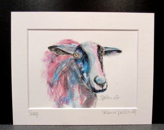 Sheep....An original watercolour,pastel and pencil painting by Suzanne Patterson