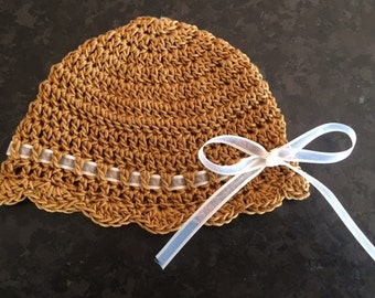 Baby Girl Beanie Summer Baby Hat Crocheted Beanie for Baby Ribbon Accent Sun Bonnet for Infant