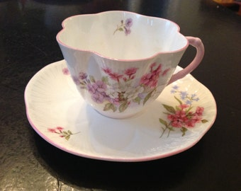 Stunning Shelley China Stocks Dainty Shape Teacup and Matching Saucer Made in England Collectible Teacups Shelley China Stocks