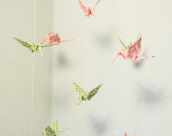 Mobile with Cranes made of japanese paper pink/green