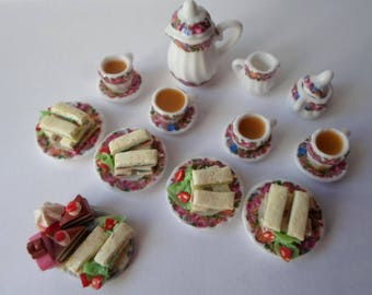 Dolls house doll food. Afternoon tea for four in 1/12th scale