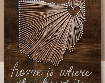 Cleveland Ohio String Art, Ohio Love, Wedding Gift, Home, Home is Where the Heart Is, Anniversary Gift, Going Away Gift, Housewarming Gift