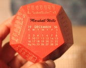 1956 12 sided calendar- matches January of 2017 dates- then Feb is a leap year with 29 days