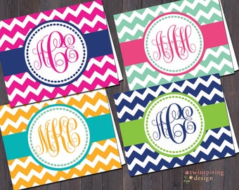 Monogram Chevron Note Cards - Custom colors available