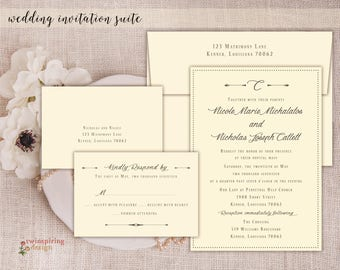 Rustic Modern Wedding Invitations and RSVP Cards with Printed Envelopes