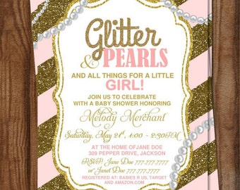 DIY Printable Baby Shower It's a Girl | Glitter and Pearls |Gold Glitter | Trendy | Pink and Gold