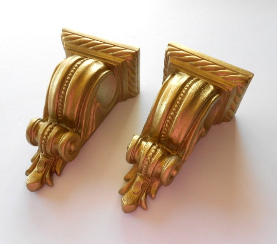 Pair Of Drapery Holders Gold Curtain Sconces Curtain Rod