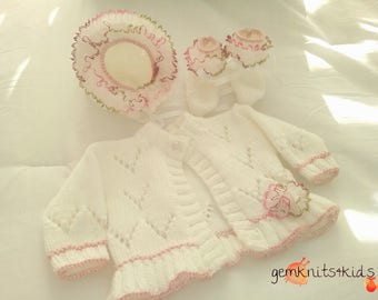 New hand knitted baby girls cardigan, bonnet and bootees