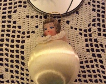 Vintage angel ornament/ satin ball ornament/ vintage ornament/ angel ornament/ vintage christmas