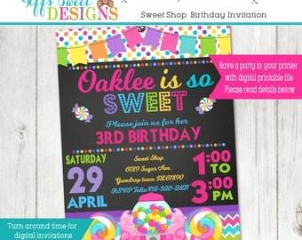 Sweet Shop Candy Party Invitation - Bubble Gum Machine Invite - Lollipop Sweet Shop - Printable