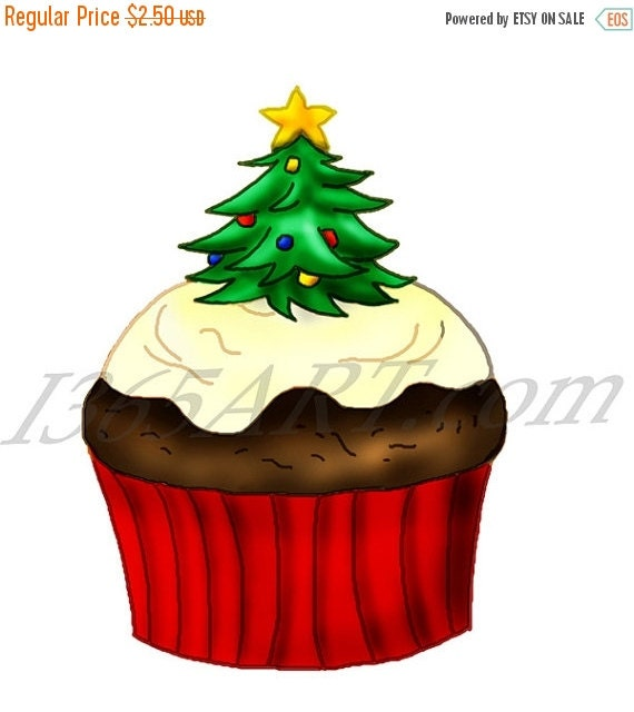 50% OFF SALE Holiday Christmas Cupcake Clipart by I365Art ...