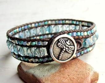 Dragonfly Blue Green Beaded Cuff Bracelet, Three Row Leather Cuff Bracelet, Boho Bohemian ~ Beach Jewelry ~ Cruise Jewelry