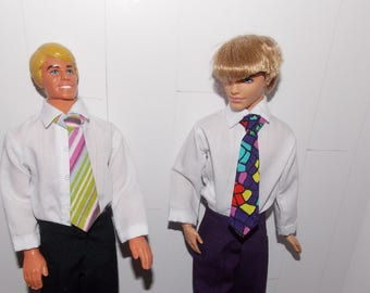 "1 Tie - for 10"" to 13"" Male Fashion Doll Tie.  (Tie only, Ken doll and clothes are not included.) Handmade in the USA."
