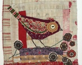 Bird. Embroidered and Applique (unframed)  on to Vintage Log Cabin Quilt Block