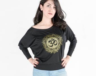 OM - The Divine Sound - Ladies Gold on Black Long Sleeve Spiritual Silkscreened Tee