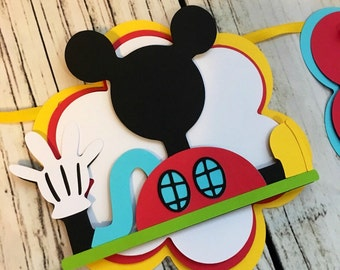 Mickey mouse birthday banner, decorations, name banner, mickey I am 1 banner, mickey mouse birthday banner, mickey mouse clubhouse