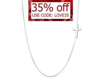Kelly Ripa Sterling silver Sideways Cross necklace off centered pendant on 925 silver