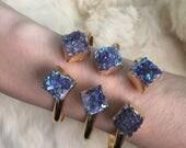 Angel Aura Amethyst Cluster bangle Amethyst Angel Aura Raw Amethyst Natural Quartz bracelet Angel Aura Druzy Quartz Cluster bracelet Jewelry