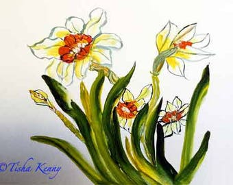 Spring Blooms  Painting on Paper hand made card printed on fine linen paper.