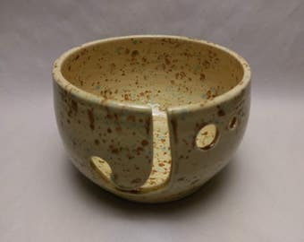 YARN BOWL - Mocha Marble Standard Cut - Hand Made Ceramic #765