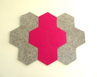 Felt Trivet, Large Grey and Pink Coaster, Placemat, Pink and Gray Felt Placemat