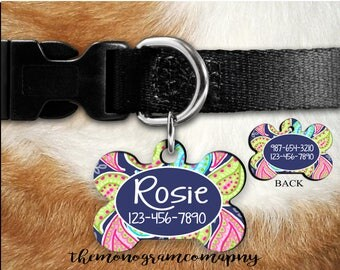 Double Sided-Personalized Dog Bone ID Tag-Personalized Pet Tag-Bone Pet Tag-Dog Tag-Custom Pet Gift-Pet Supplies -Made in USA