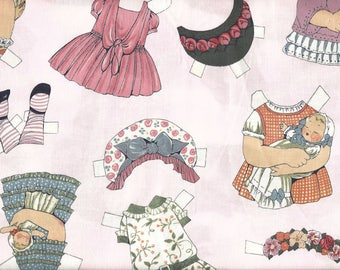 Windham Quilt Fabric - Paper Doll Series - Doll Clothes - Pink Background - SKU 28117 - Six Piece Scrap Bundle