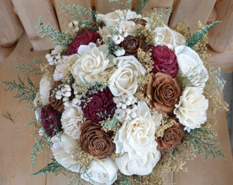Woodland Bouquet Winter Bouquet Maroon Bouquet Burgundy Bouquet Rustic Bouquet Wedding Bouquet Sola Bouquet  Gold Maroon Bouquet Burgundy
