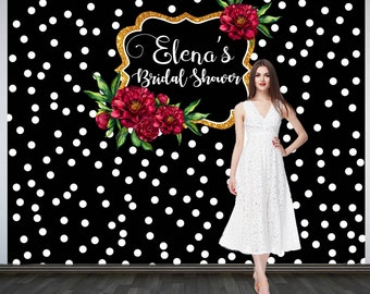 Bridal Shower Photo Backdrop, Custom Wedding Party Backdrop, Personalized Wedding Backdrop, Black and White Polka Dots Photo Booth Backdrop