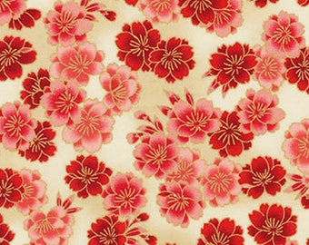 Cherry Blossoms: Red, Cream & Gold Metallic Asian Japanese Fabric - By the Half Yard
