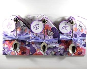 Tea bag envelope gift, tea bag gift idea, tea gift, tea and teaspoon gift, tea bag envelope favor