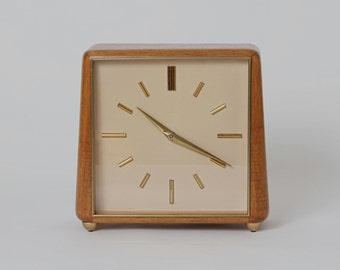 Clock by Junghans, vintage, 50s, Walnut, Germany, white